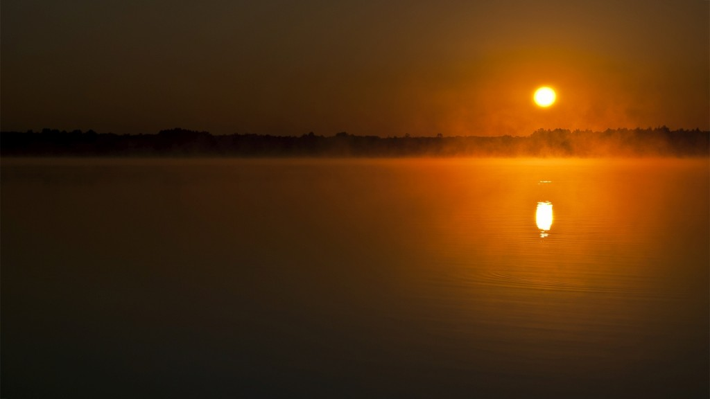 sunset-on-the-foggy-lake-wallpaper