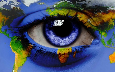 world map on eye