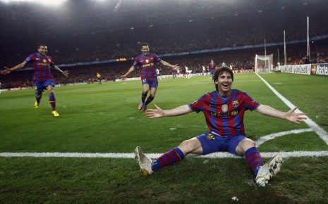 Messi after a goal