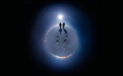 Stereographic Moonlight Snow Winter Black Shadow Person people space stars wallpaper