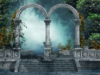 rch forest gate door 3d art artwork flowers wallpaper