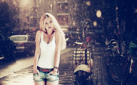 Blonde girl in the rain