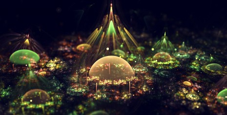 Fractal graphic artistic composition bubbles wallpaper