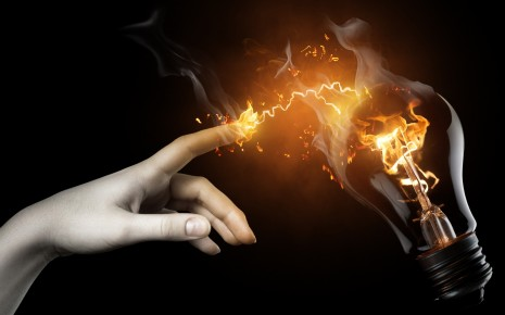 Hands electricity bulbs photomanipulation wallpaper