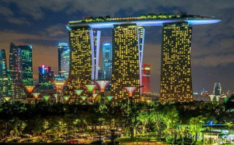 Singapore cities buildings skyscrapers night lights wallpaper