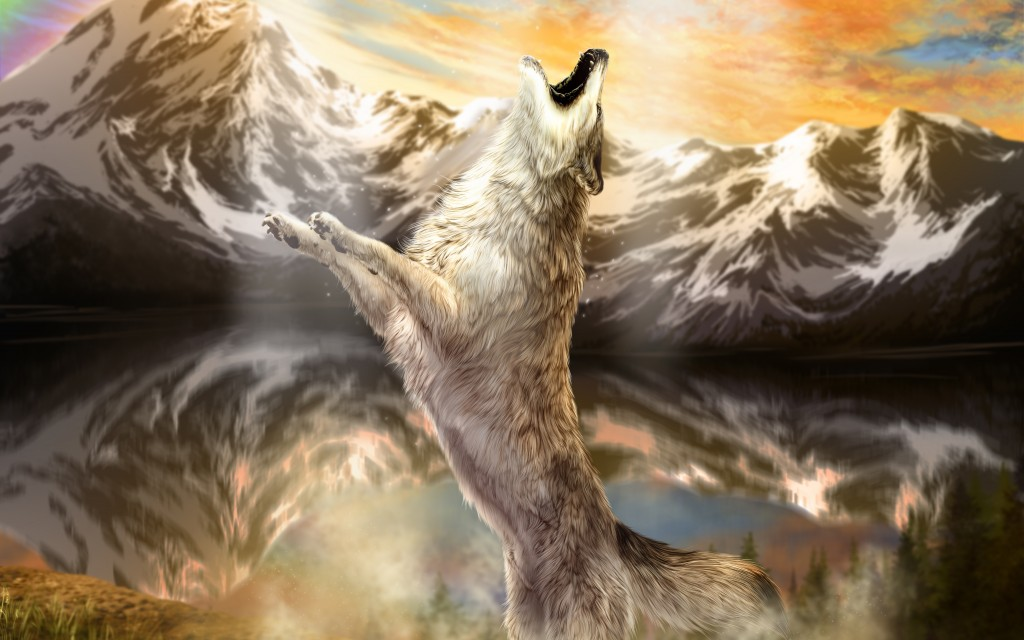Wolves Mountains Painting Art Animals wolf wallpaper