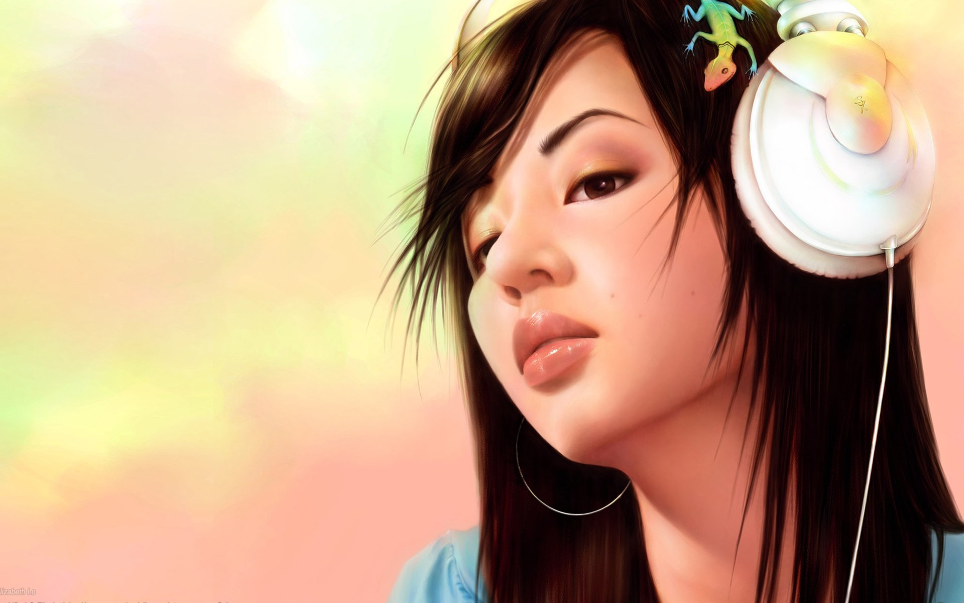 Cartoon Girl With Headphone HD Wallpaper