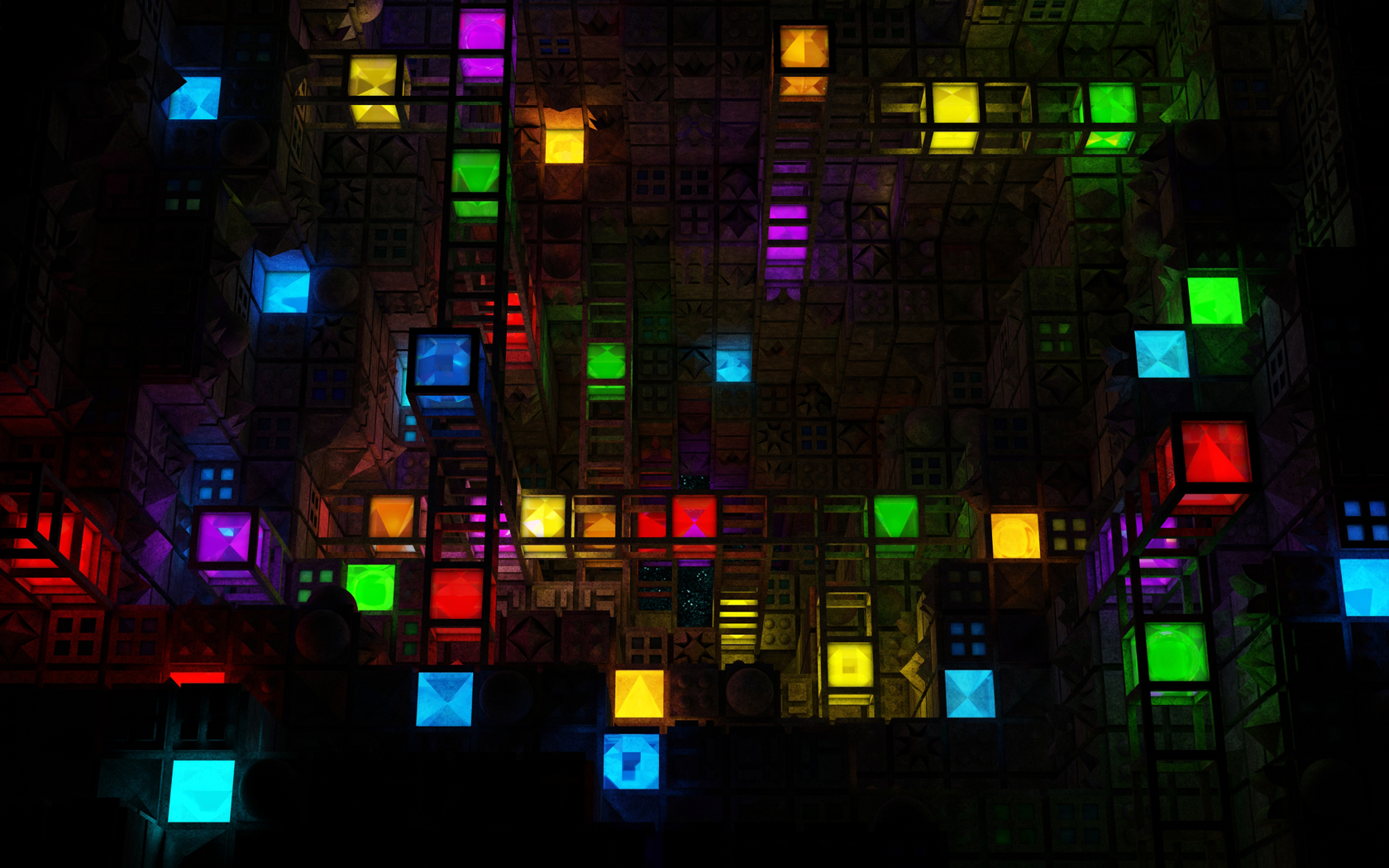 Abstract Multicolor Light Cube Hd Wallpaper Hd Latest