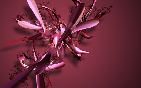 3D Pink feathers HD wallpaper