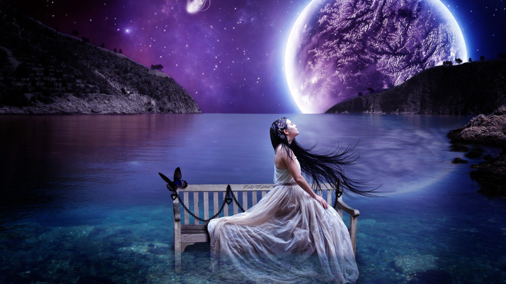 Girl on the Bench Digital Art HD wallpaper