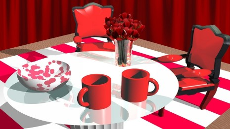 Red dining room HD wallpaper
