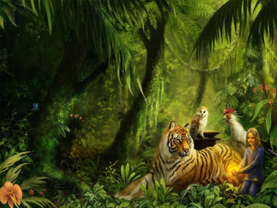 Tiger and Girl in Jungle wallpaper