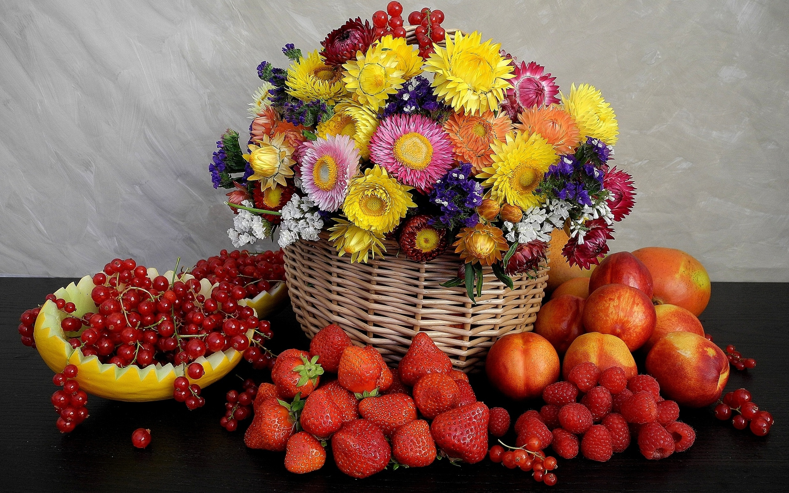 Fruits and Flowers HD wallpaper