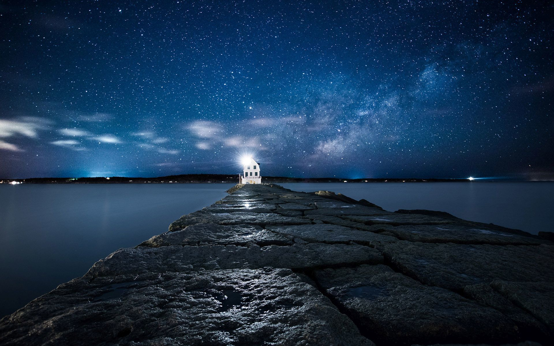 Lighthouse under the starry sky hd wallpaper hd latest for The latest wallpaper