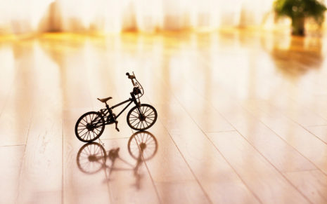 Small Bicycle Prototype On Wooden Ground HD Wallpaper