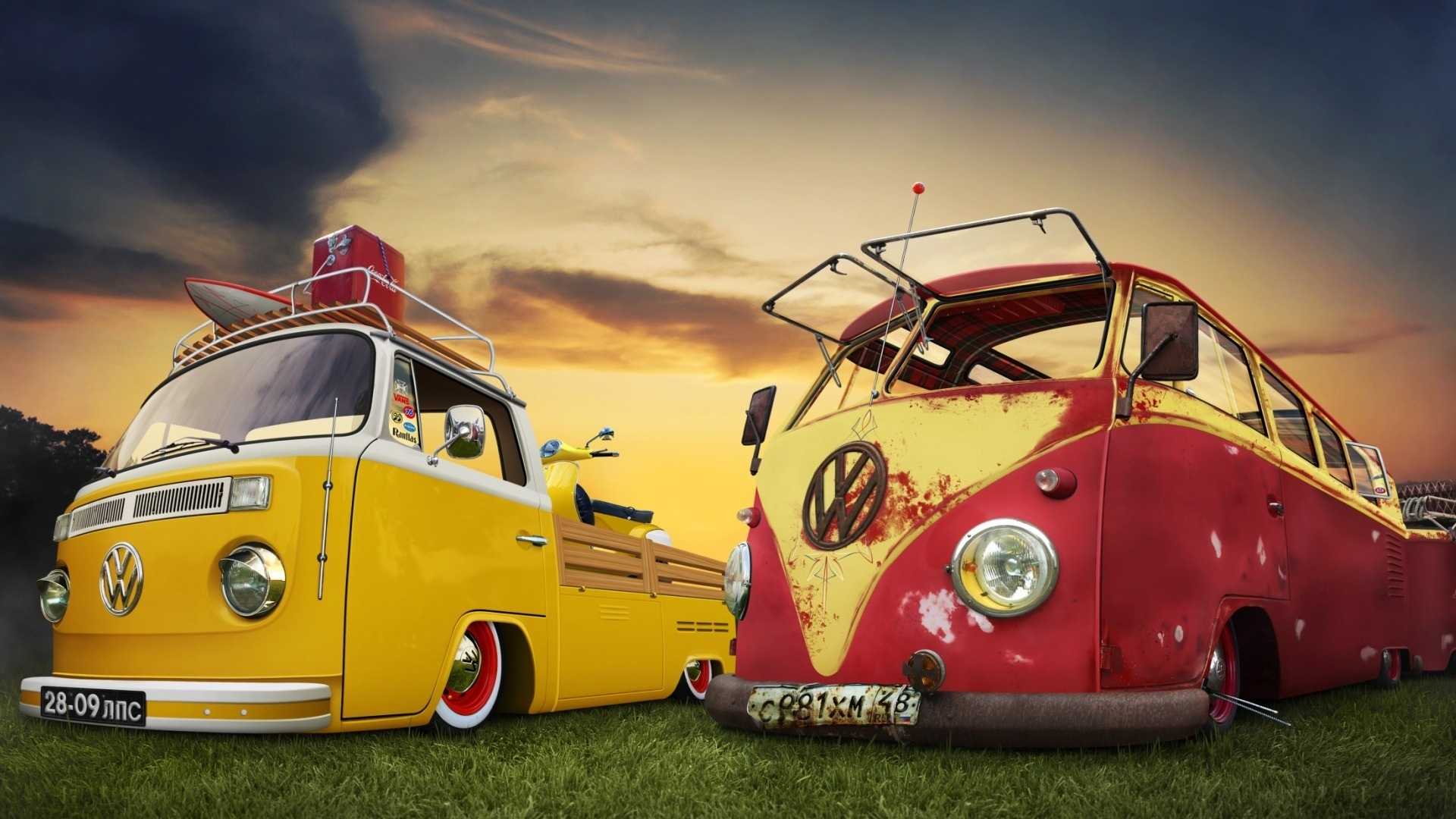 Vintage volkswagen bus at sunset hd wallpaper hd latest for Garage vw beauvais