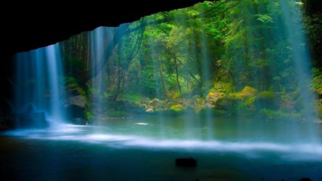 Water Falling on The Cave Entrance HD Wallpaper