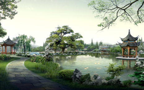 Chinese classical garden HD wallpaper