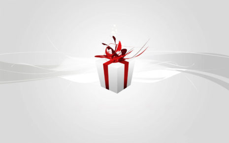 Christmas White Gift In Red Ribbon HD Wallpaper