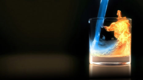Fire and water in glass HD wallpaper