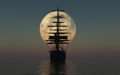 Ship's silhouette in the moonlight HD wallpaper