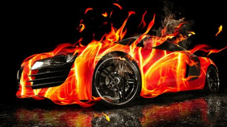 3D Car on fire HD wallpaper