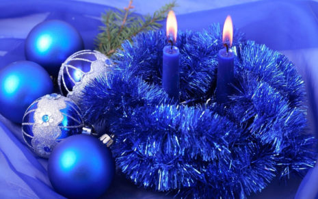 Blue Christmas decorations HD wallpaper