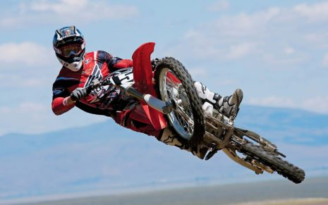 Red Trail Bike Jump HD wallpaper