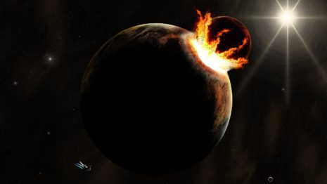 Collapsing planets HD wallpaper