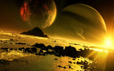 Magnificent Golden space HD wallpaper