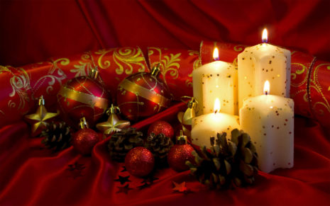 Red gifts with candles