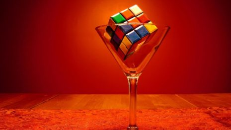 Rubiks cube in martini glass HD wallpaper