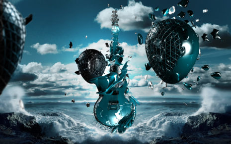 Stylized guitar HD wallpaper
