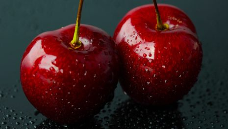 Wet and shiny cherries HD wallpaper