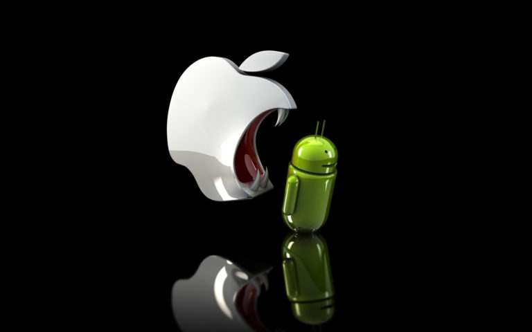 Apple eating Android HD wallpaper
