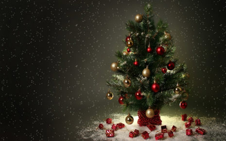 Gifts hang on tree HD wallpaper