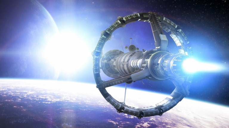 Spaceship heading to the light HD wallpaper