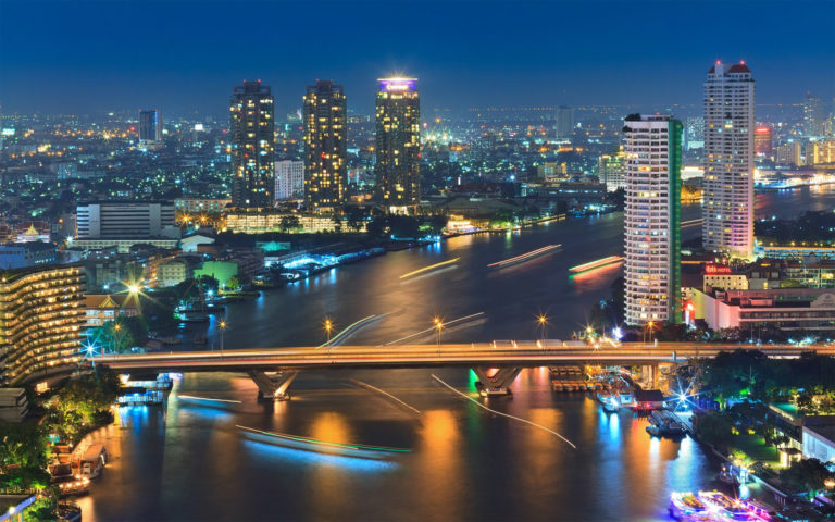 Bangkok in night time HD wallpaper