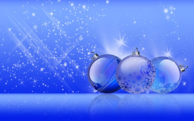 Blue Christmas baubles HD wallpaper