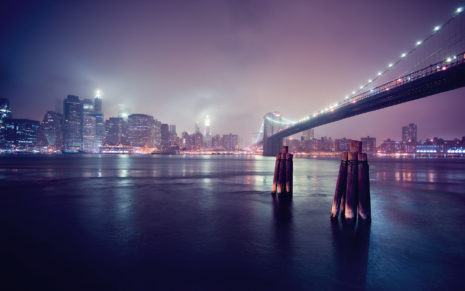 Blue Shining Brooklyn Bridge HD wallpaper