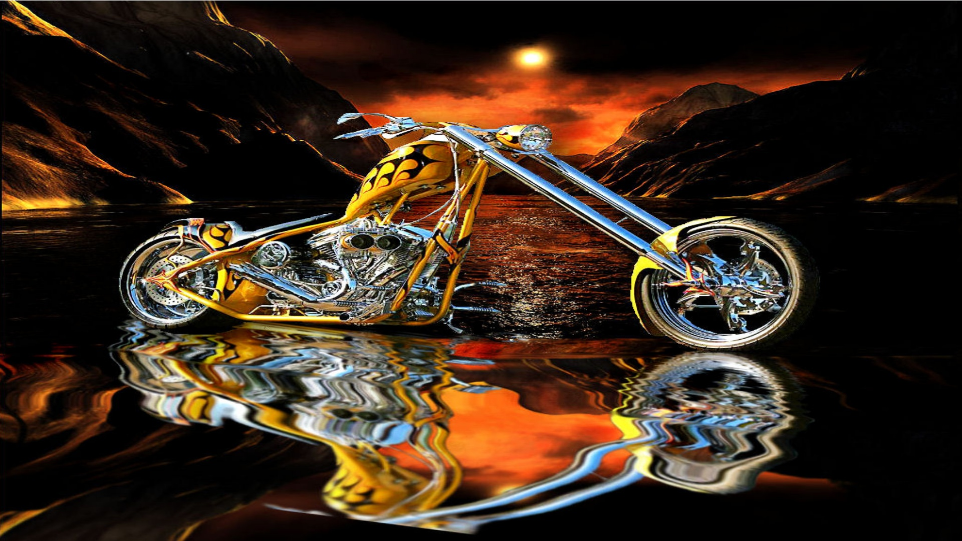 Photo Collection Motorcycle Fire Water Wallpaper