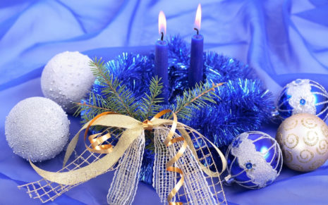 Christmas Candles Blue HD wallpaper