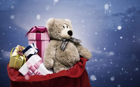 Christmas bear in bag HD wallpaper