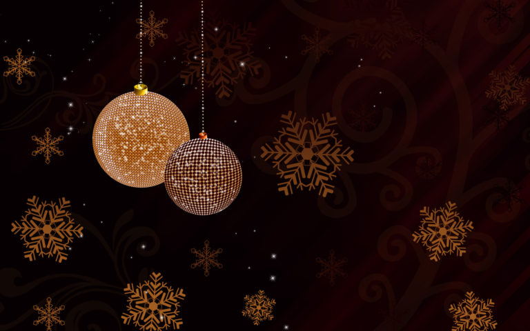 Golden sparkling Christmas globes HD wallpaper