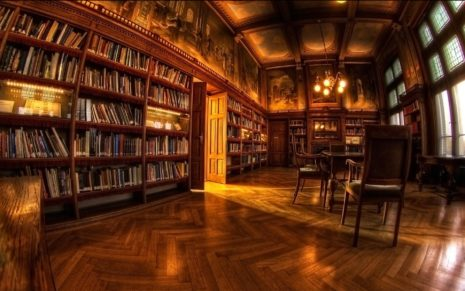 Library interior HD wallpaper