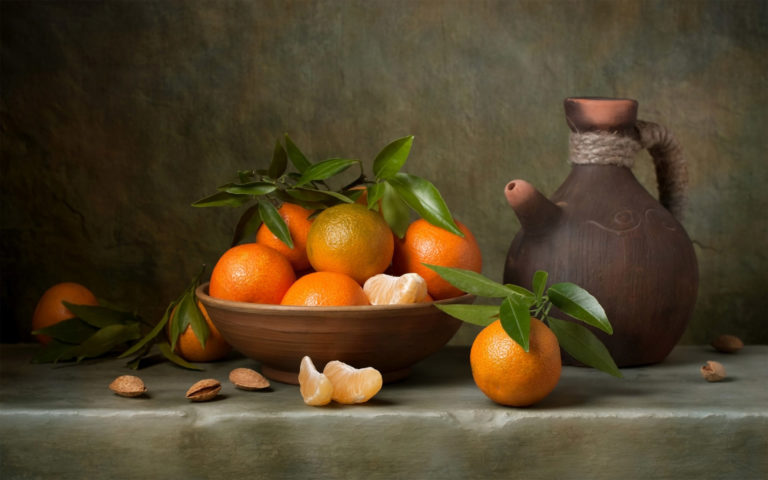 Mandarin oranges & almonds HD wallpaper