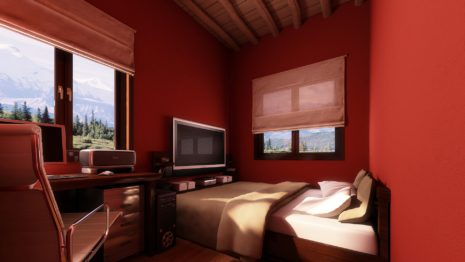 Red Bedroom Interior HD wallpaper
