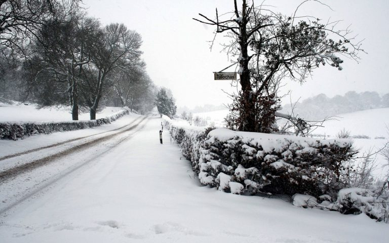 White Winter Road HD wallpaper