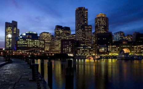 Boston city at night HD wallpaper