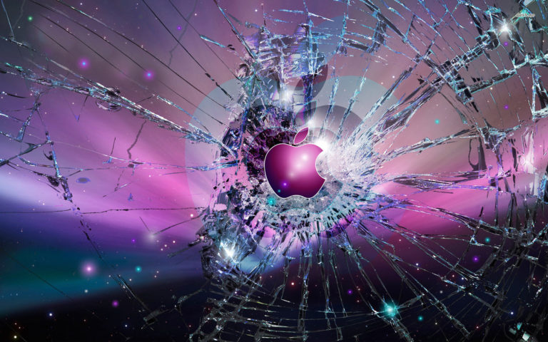 Broken Apple glass HD Wallpaper